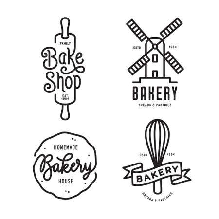 Conjunto de emblemas de panadería. Vector la ilustración de la vendimia. Foto de archivo - 86087110