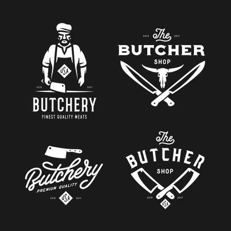 Butcher shop labels badges emblems set. Vector vintage illustration. Vettoriali