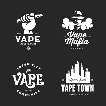 Vape shop labels emblems badges set. Vaping related typography collection. Trendy design elements for t-shirt prints and advertising. Vector vintage illustration.