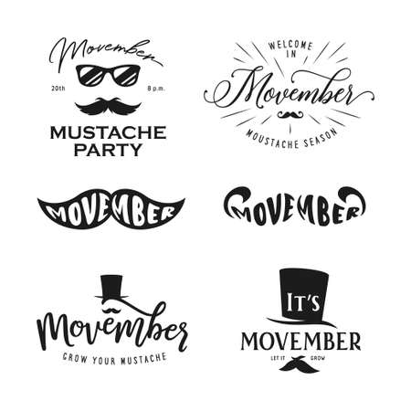 Movember season typography set. Vector vintage illustration.