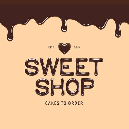 Sweet winkel logo sjabloon. Chocolade stijl tekst en hart. Bakkerij- of cakewinkel reclamebord. Vector illustratie.