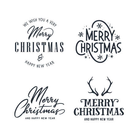 Merry Christmas and Happy New Year typography set. Holiday related lettering templates for greeting cards, overlays, decoration. Vector vintage illustration. Illustration