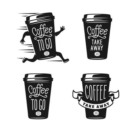 Coffee to go emblems set. Take away coffee labels. Vector vintage illustration.