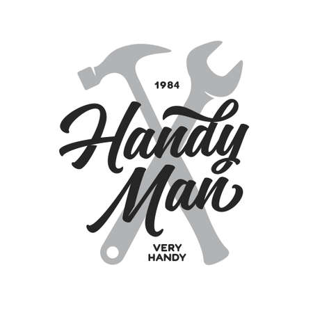 Handyman lettering emblem. Carpentry related t-shirt design. Vector vintage illustration.