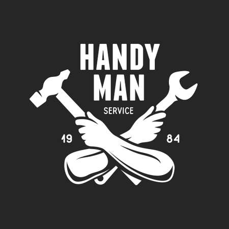 Handyman service label. Carpentry related vector vintage illustration.
