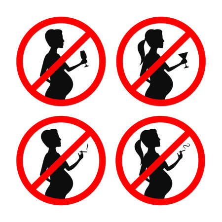 No smoking and drinking during pregnancy signs set. Prohibition, crossed out red sign. Vector vintage illustration. Ilustracja