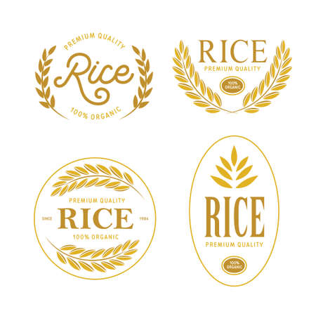 Rice emblems labels badges set. Golden logotypes collection for packaging advertising. Vector vintage illustration. Illustration