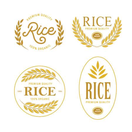 Rice emblems labels badges set. Golden logotypes collection for packaging advertising. Vector vintage illustration. Stock Illustratie