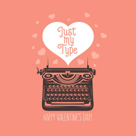 Valentine day card. Vintage typewriter with text in heart. Vector illustration
