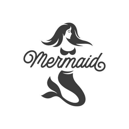 Mermaid logotype monochrome template isolated on white background. Mermaid logo design. Vector vintage illustration.