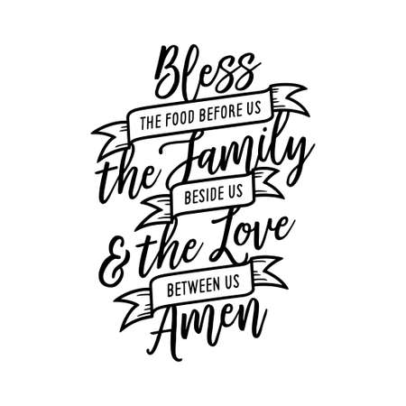 Bless the food kitchen typography wall art poster. Vector vintage illustration. 일러스트