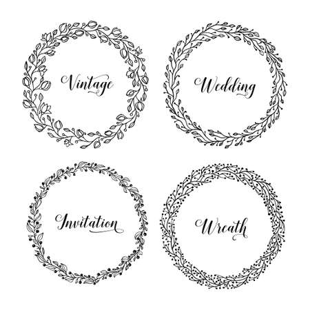 Vector vintage wreaths. Collection of trendy cute floral frames. Graphic design elements for wedding invitations, prints, decoration, greeting cards. Hand drawn round illustration set.