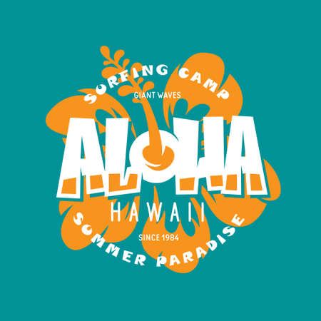 アロハハワイ花柄Tシャツプリントデザインイラスト。 写真素材 - 97684321
