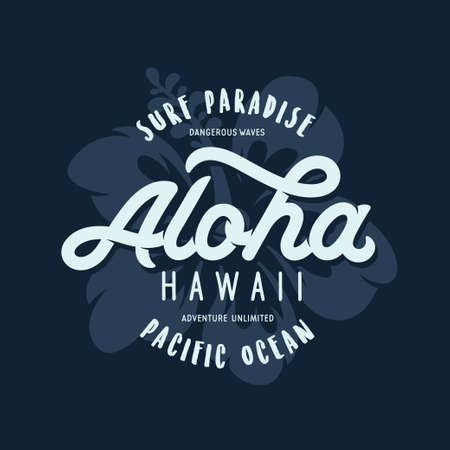 Aloha hawaii floral t-shirt print. Vector vintage illustration.