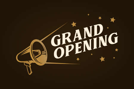 Grand opening template design illustration. 矢量图像