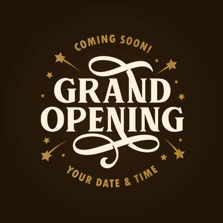 Vintage grand opening  banner template illustration. 矢量图像
