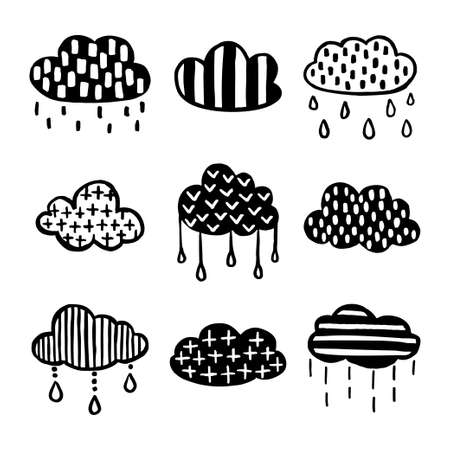Set of Scandinavian style hand drawn cloud illustration.