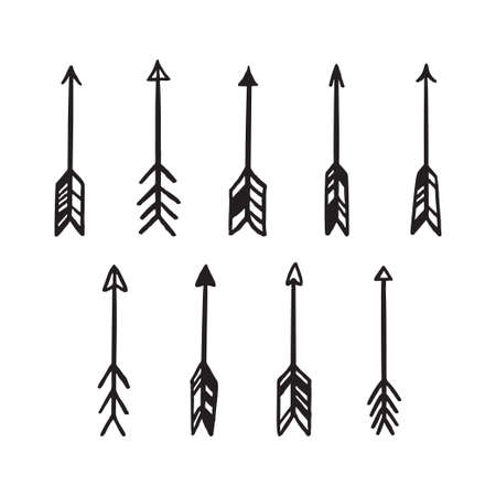 Scandinavian style hand drawn arrows set. Vector vintage illustration.  イラスト・ベクター素材