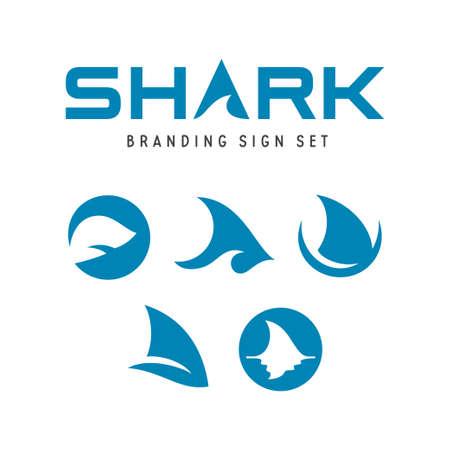 Set of shark logo branding design illustration.