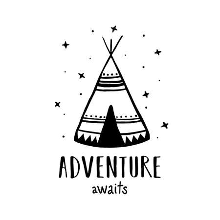 Adventure awaits Scandinavian style hand drawn poster. Vector illustration.