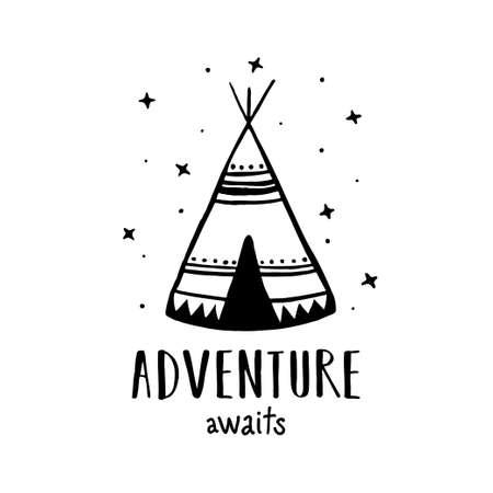 Adventure awaits Scandinavian style hand drawn poster. Vector illustration.