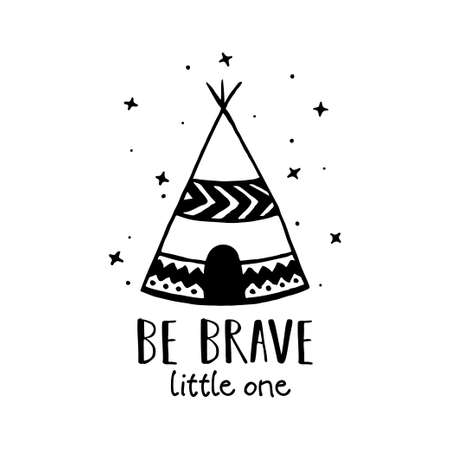 Be brave Scandinavian style hand drawn poster. Vector illustration.