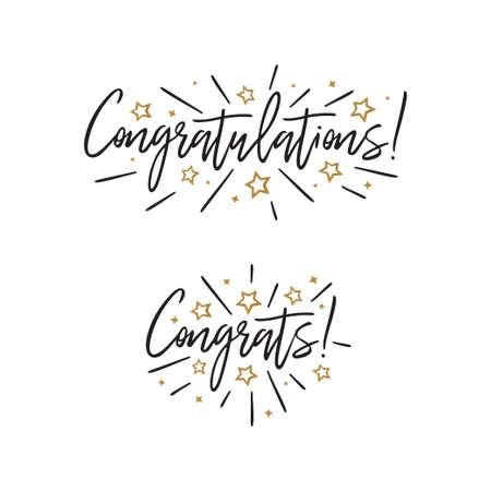Congratulations. Hand lettering. Vector handwritten typography. Vettoriali