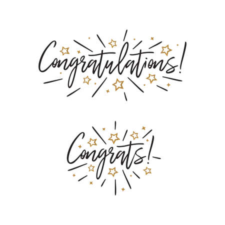 Congratulations. Hand lettering. Vector handwritten typography. Stock Illustratie