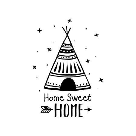 Home sweet home scandinavian style hand drawn poster. Vector illustration. Illustration
