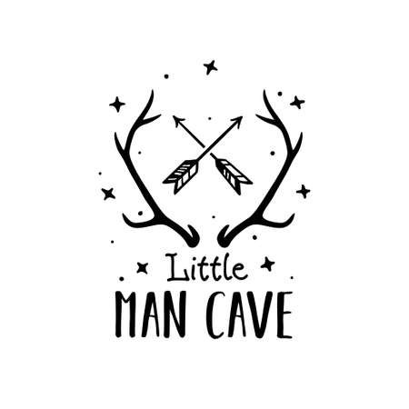 Little man cave scandinavian style hand drawn poster. Vector illustration.