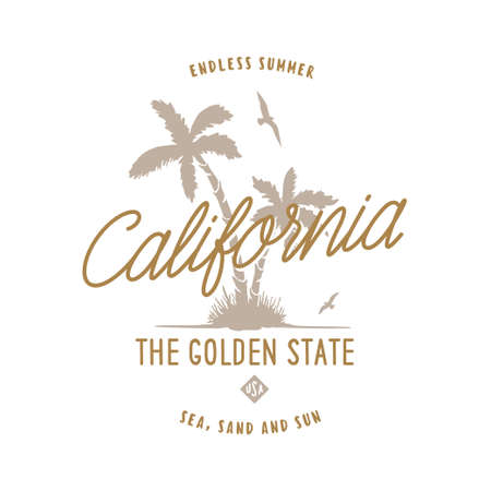 California golden state t-shirt design. Hand drawn palms with the seagulls. Usa related design elements for prints, posters. Vector vintage illustration. Vectores