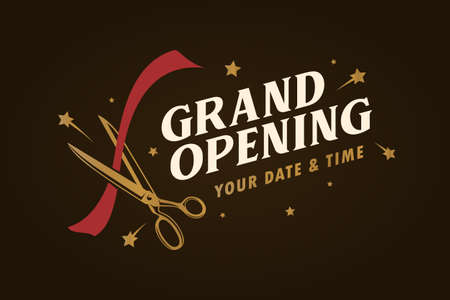 Grand modèle d'ouverture, bannière, affiche. Élément de conception de lettrage pour la cérémonie d'ouverture. Typographie de style rétro. Illustration vintage de vecteur.