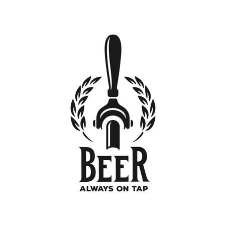 Bier immer vom Fass Werbung. Tafelgestaltungselement für Bierkneipe. Vektor Vintage Illustration. Standard-Bild - 98614780