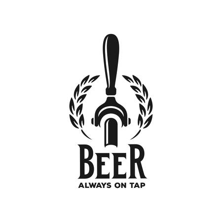 Cerveza siempre de barril publicitario. Elemento de diseño de pizarra para pub de cerveza. Ilustración vintage vector
