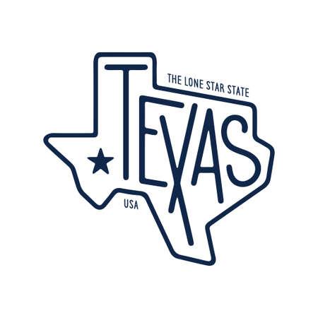 Diseño de camiseta relacionada con Texas. El estado de la estrella solitaria. Concepto monocromo sobre fondo blanco. Ilustración de vector vintage