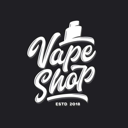 Vape shop typography template. Vaping related modern calligraphy for posters prints t-shirt design advertising. Vector vintage lettering illustration.