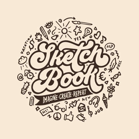 Sketchbook cover hand drawn design. Doodle style elements collection. Retro looking typography lettering inscription. Motivational quote. Imagine create inspire. Vector vintage illustration.  イラスト・ベクター素材