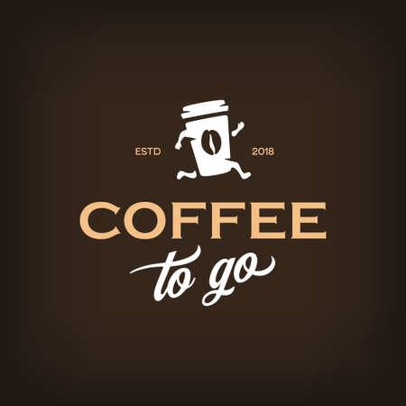 ロゴタイプテンプレートを行くためにコーヒー。コーヒーのエンブレムを取り除きます。ベクトルヴィンテージイラスト。