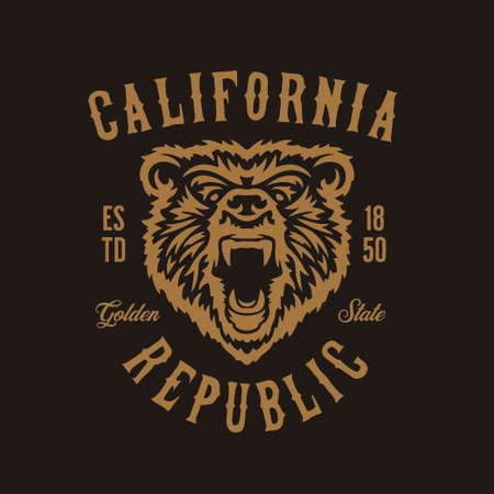 Conception de t-shirt de la république californienne avec tête de grizzly. Illustration vintage de vecteur.