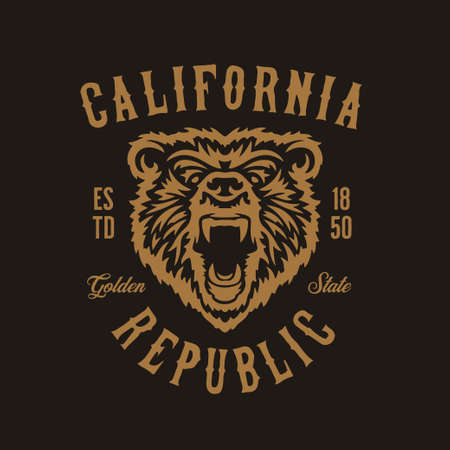 California republic t-shirt design with grizzly bear head. Vector vintage illustration.