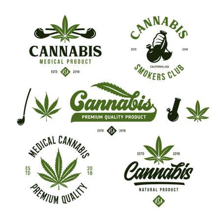 Cannabis Marihuana Etiketten Embleme Abzeichen Set. Hanfbezogene Drucke, Schilder, Typografie, Logovorlagen. Logos. Vektor-Vintage-Illustration. Logo