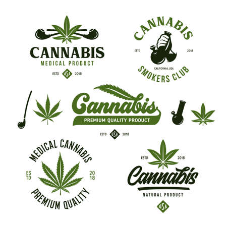 Cannabis marijuana labels emblems badges set. Hemp related prints, signs, typography, logotype templates. Logos. Vector vintage illustration. Stock Illustratie