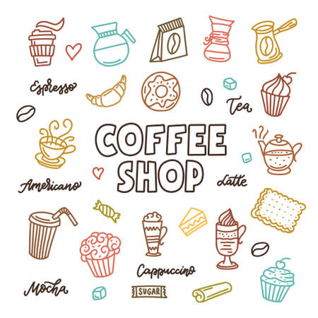 Coffee shop doodle art elements set. Hand drawn coffee related outline design collection. Vector vintage illustration.