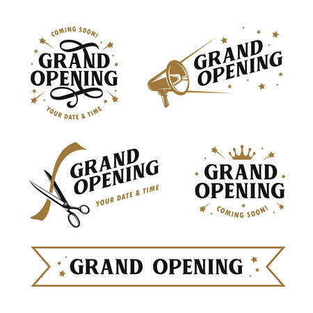 Grand opening templates set. Lettering design elements for opening ceremony. Retro style typography. Vector vintage illustration. Vettoriali