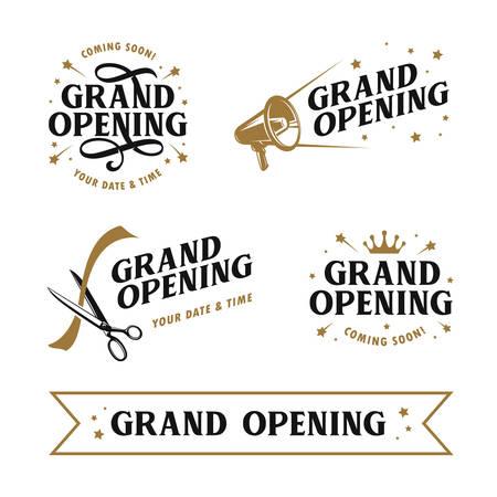 Grote opening sjablonen set. Belettering van ontwerpelementen voor openingsceremonie. Retro stijl typografie. Vintage vectorillustratie. Vector Illustratie