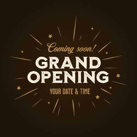 Grand opening template, banner, poster. Lettering design element for opening ceremony. Retro style typography. Vector vintage illustration.