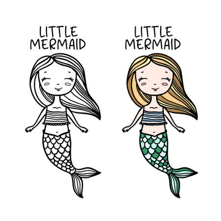 Little mermaid hand drawn doodle art. Cute drawing for kids clothes design prints, posters, stickers. Vector vintage illustration.  イラスト・ベクター素材
