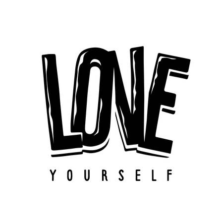 Love yourself feminist slogan t-shirt print. Apparel tee graphics design. Sticker, pin, patch, Vector illustration. Vetores