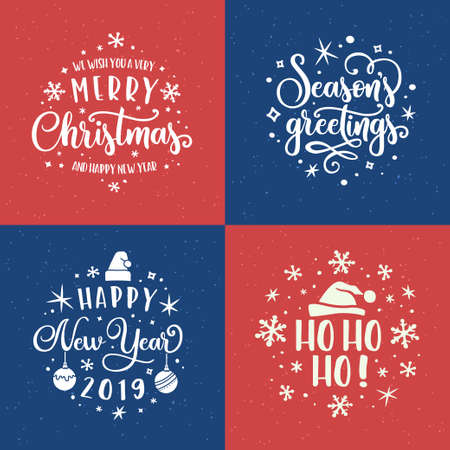 Merry Christmas and Happy New Year lettering template set. Vector vintage illustration. Çizim