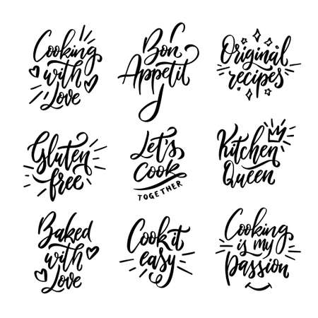 Cooking related quotes collection. Hand drawn kitchen calligraphy. Gluten free. Cooking with love. Cook it easy. Kitchen queen. Original recipes. Typography design elements set. Vector illustration.